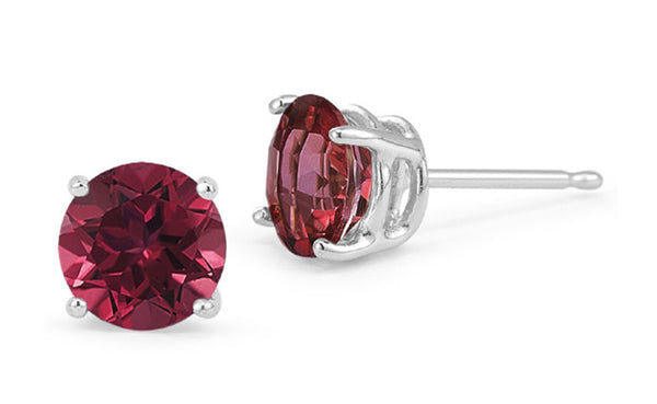 14k White Gold 1 Carat Ruby Cubic Zirconia Round Stud Earrings