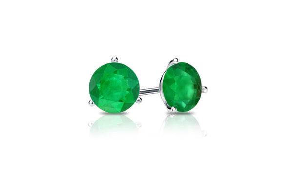 18k White Gold 1 Carat Emerald Cubic Zirconia Round Stud Earrings