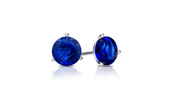 18k White Gold 1 Carat Sapphire Cubic Zirconia Round Stud Earrings