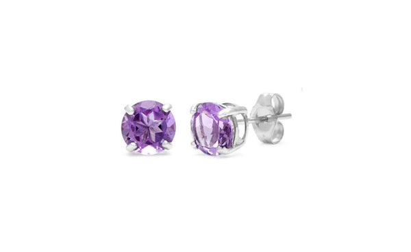 18k White Gold 1 Carat Alexandrite Cubic Zirconia Round Shape Earrings