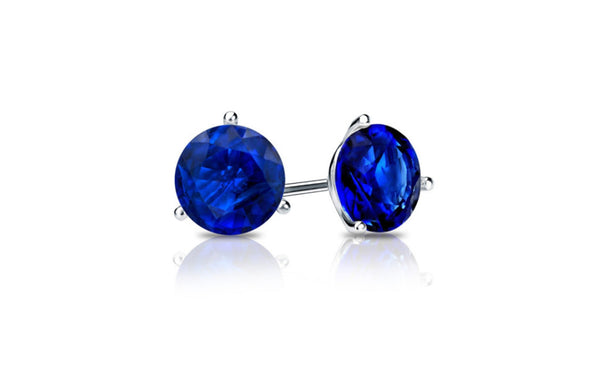 14k White Gold 4 Carat Round Blue Sapphire Cubic Zirconia Earrings