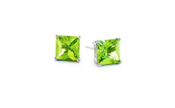 14k White Gold 4 Carat Princess Peridot Cubic Zirconia Stud Earrings