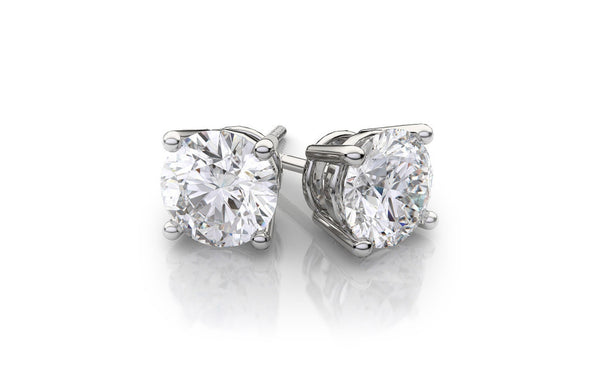14K Solid White Gold Round White Cubic zirconia VS1 Stud Earrings