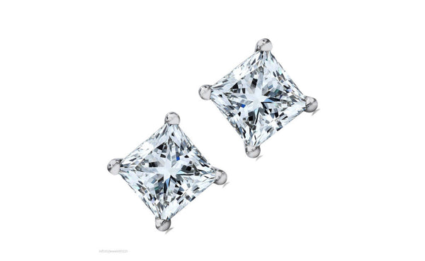 14k Solid White Gold 1.50Ct Princess White Cubic zirconia Stud Earring