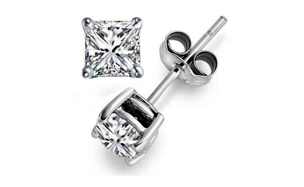14K White Gold Princess 3 Ct White Cubic Zirconia Stud Earrings