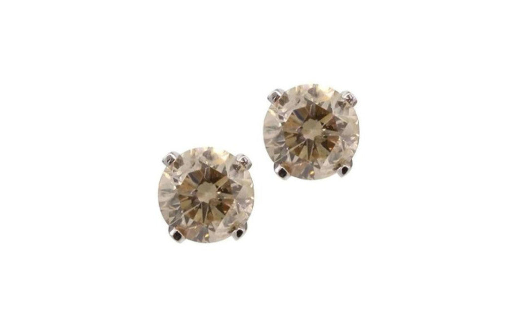 14K White Gold Genuine Round Brown Diamond 1/2 Ct Sl1 Earrings