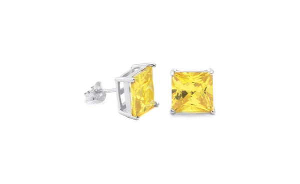 14K White Gold 1/4 Ct Genuine Rare Yellow Princess Diamond Sl1 Studs