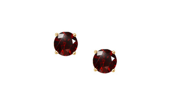 14k Yellow Gold Round Red 1/4ct Diamond Sl1 Earrings