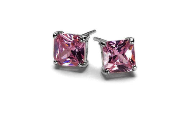 14k White Gold Princess Pink Imitation Diamond Stud VS1