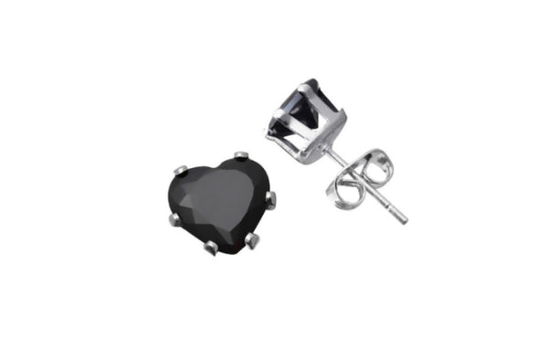 Kids/Girls 14k Heavy White Gold Heart Black Imitation Diamond Stud
