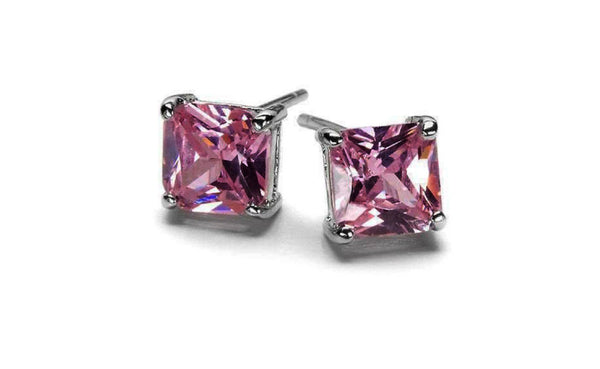 14k White Gold 2Ct Princess Pink Cubic Zirconia Stud VS1