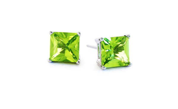 Buy One Get One Free Sterling Silver Cz Princess Peridot Earring