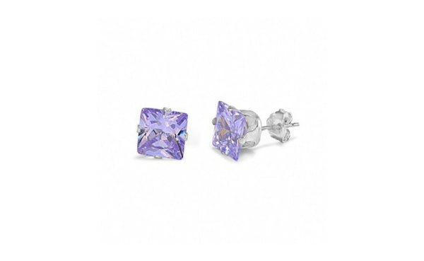 Buy One Get One Free 14k White Gold Princess Alexandrite Cz Earring