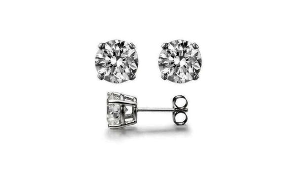 Buy One Get One Free 14k White Gold Round White Cz Earring