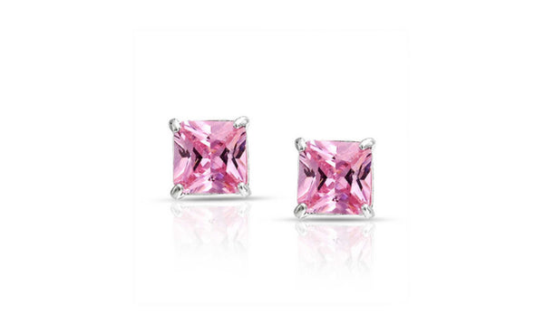 Buy One Get One Free Sterling Silver Princess Cut Pink Cz Earring