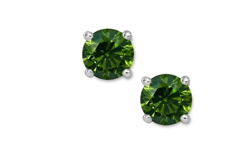 14K Green Genuine Diamond White Gold Earrings 0.30 CT Sl1