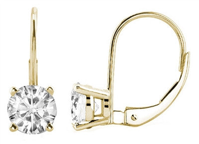14K Yellow Gold 1.50 Carat Round Diamond Lever back Earrings (SI-1) Designed in France