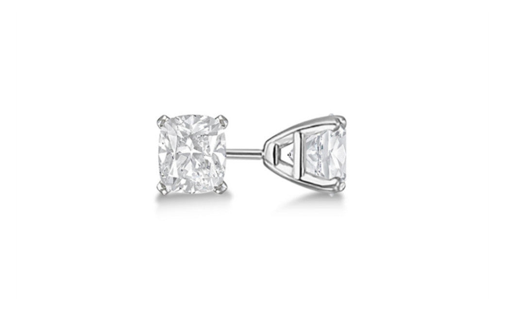 10k White Gold Over Sterling Silver 4Ct Princess White Cz Stud Earring