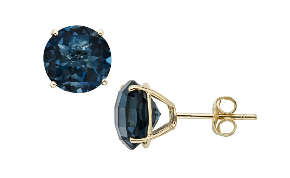 14K Solid Yellow Gold 1/2CT Genuine Rare Blue Diamond Stud Earrings