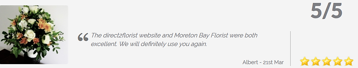 5 star review Moreton Bay Florist