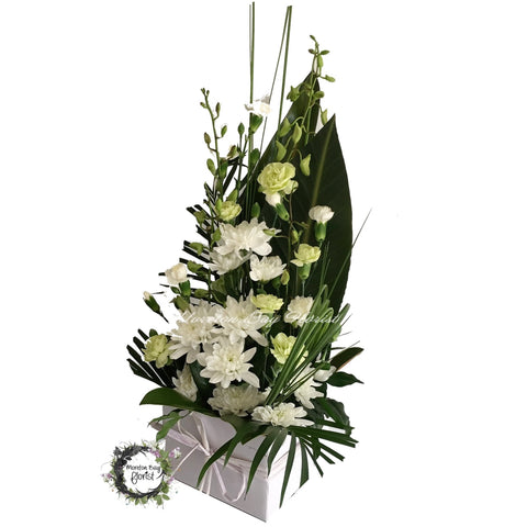 White sympathy flower Arrangement