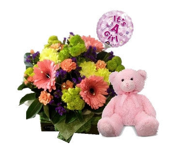 Baby girl flower arrangement with teddy and balloon
