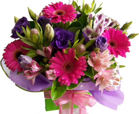 Box arrangement of gerberas and lisianthus in pink and green