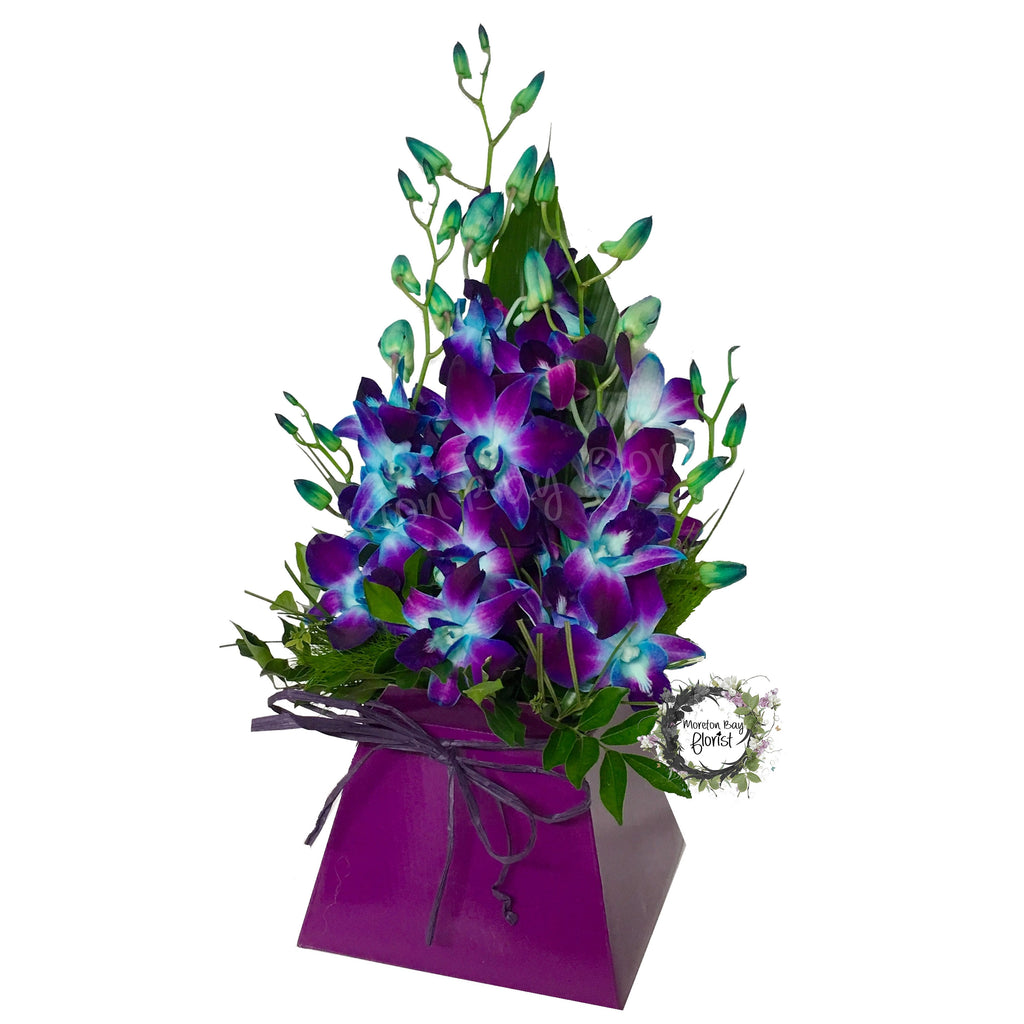 Purple and Blue orchid flower arrangement