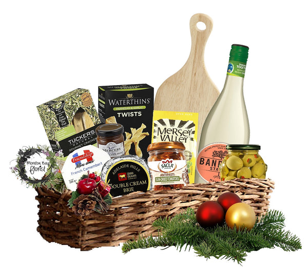 Gourmet cheese and wine hamper