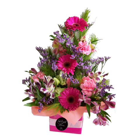 Beautiful box arrangment of pink flowers