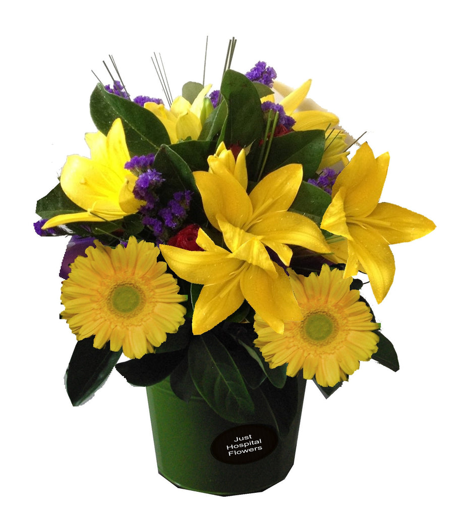 Arrangment of flowers in purple and yellow