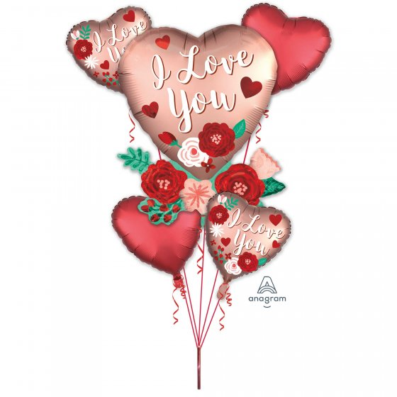 Heart and Flowers Balloon Bouquet