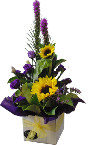 Box arrangement with sunflowers