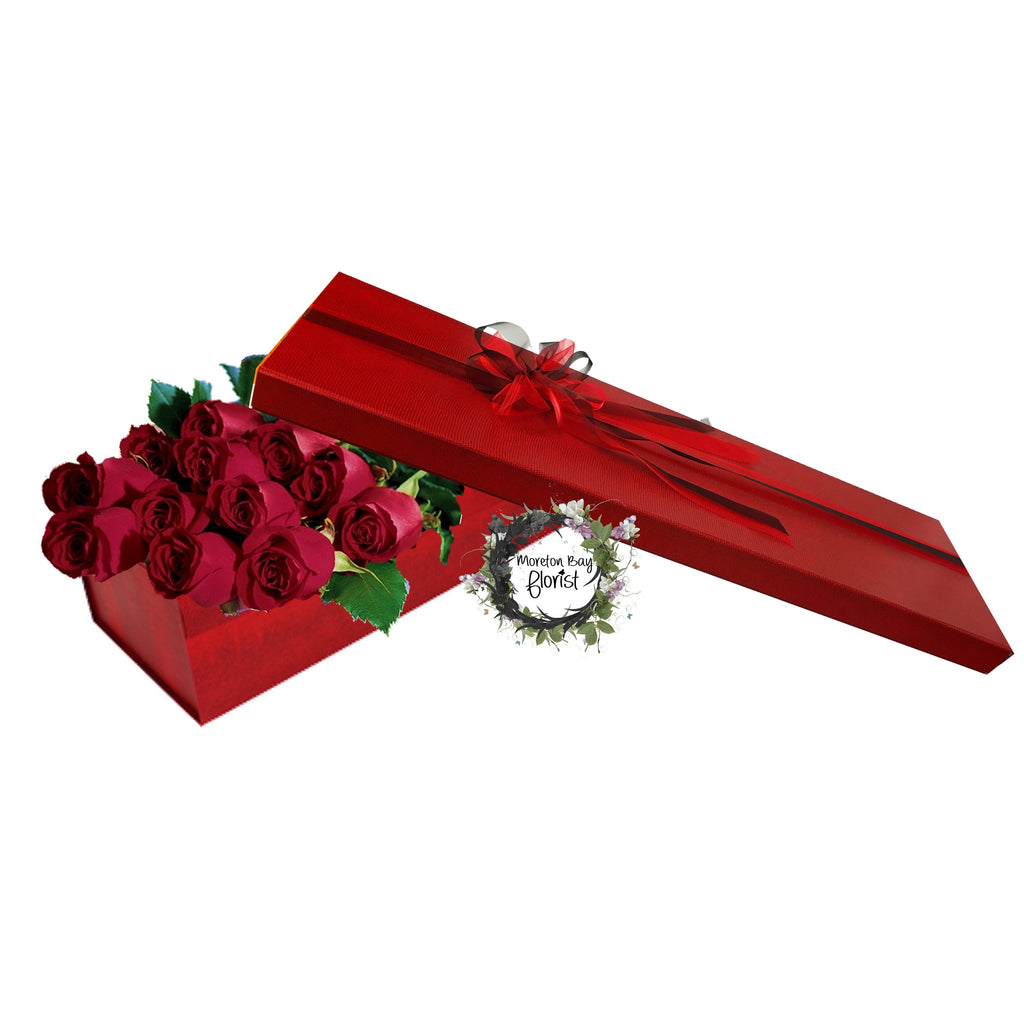 Dozen long stemmed roses in rose presentation box