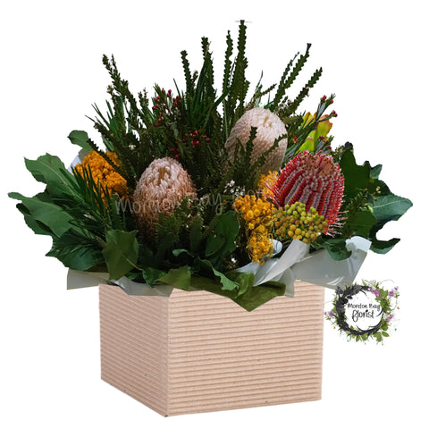 Native box flower arrangement