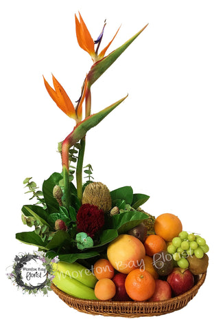 Native flowers and fruit basket