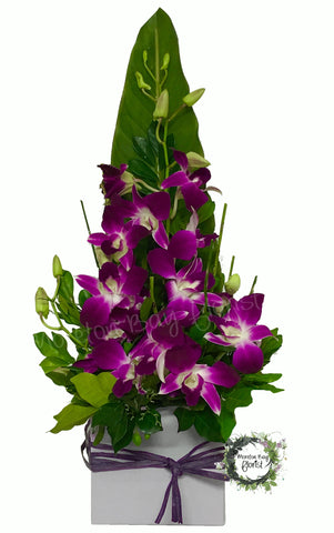 Purple orchid flower arrangement