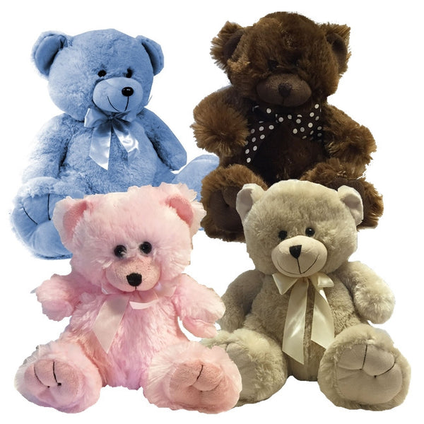 teddy bears blue pink brown cream