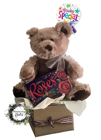 Teddy Bear, Balloon and Chocolates