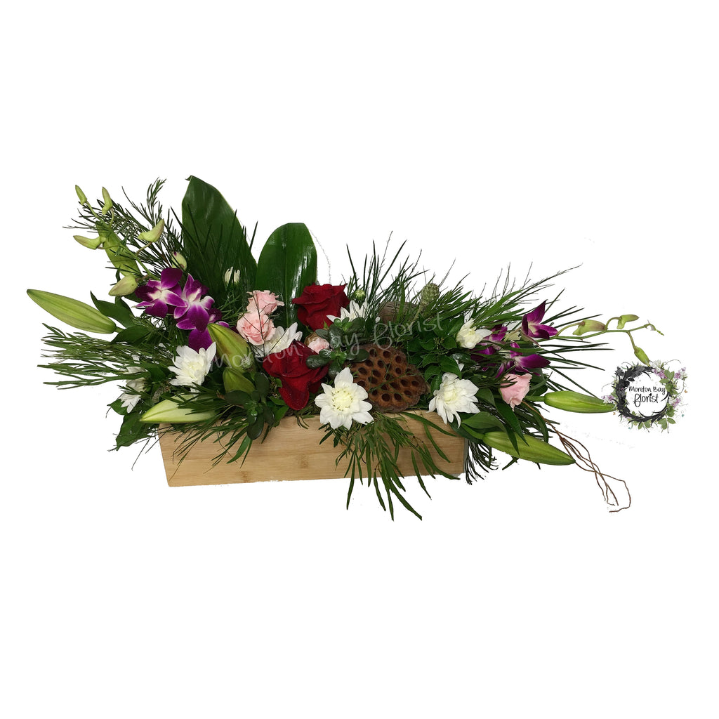 Luxury floral arrangement in a timber box