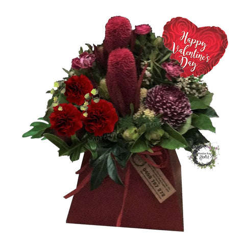Red Valentines Arrangement with Balloon