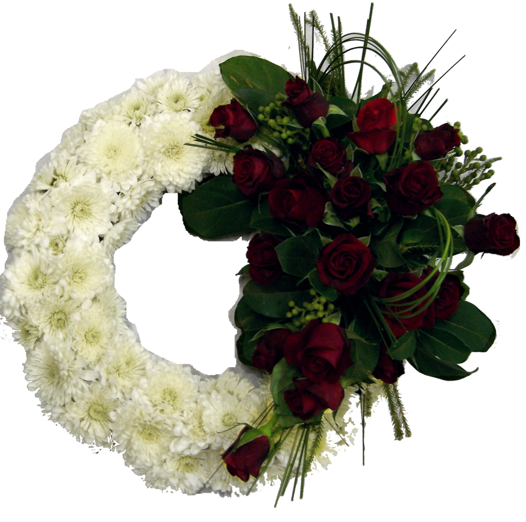 Funeral Sympathy wreath with red rose spray