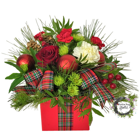 Christmas Seasonal Box Arrangement in reds and greens