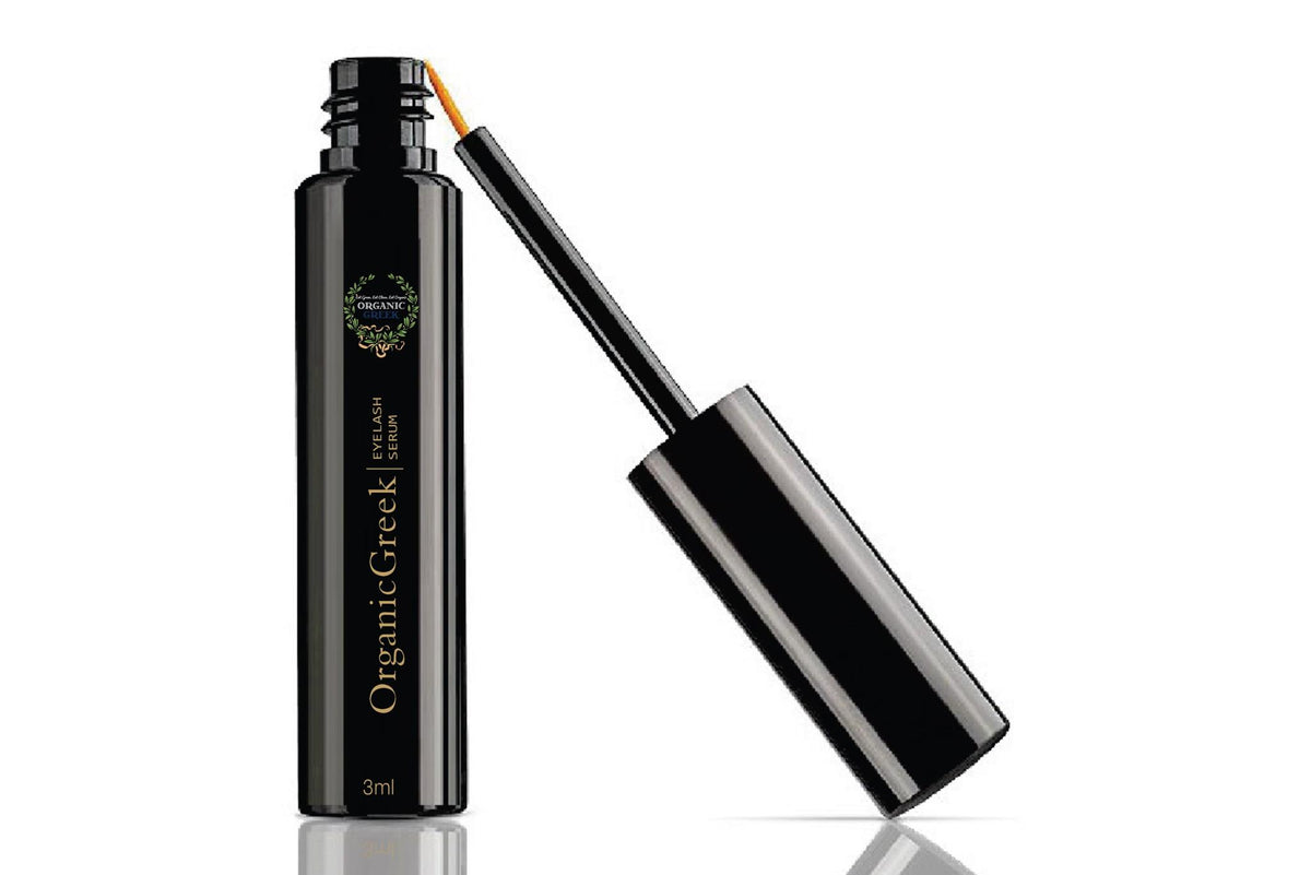 OrganicGreek.com  Natural Organic Eyelash Growth Serum. Vegan & Gluten Free. Nourishes and Conditions Eyelashes. Enriched with Chamomile & Vitamin E.