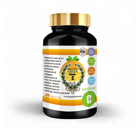Organic Greek Vitamin C  1000mg Natural Non GMO Vegan Supports Immune System and Collagen Booster