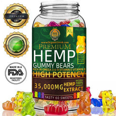 Organic Greek Premium High Potency Hemp Gummy Bears and Natural Vitamins No THC