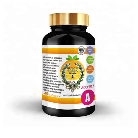 Organic Greek Vitamin A 8000IU Natural Non GMO Vegan Support Healthy Vision, Bone Health and Immune Support