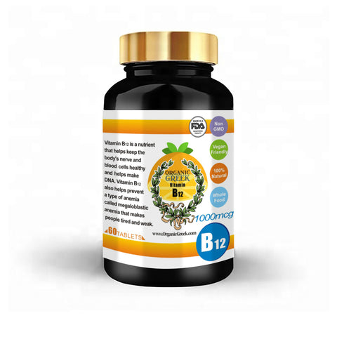 Organic Greek Vitamin B 12 Natural Non GMO Supports Production of Energy , Red Blood Cells, Healthy Nervous System and Energy Metabolism