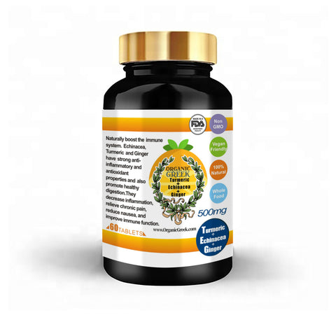 Organic Greek Natural 500mg Natural Turmeric, Echinacea and Ginger Miracle Natural Non GMO Supports Joint, Heart , Brain and Immune Support