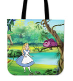 Alice & Cheshire Cat - Large Leather Tote Bag